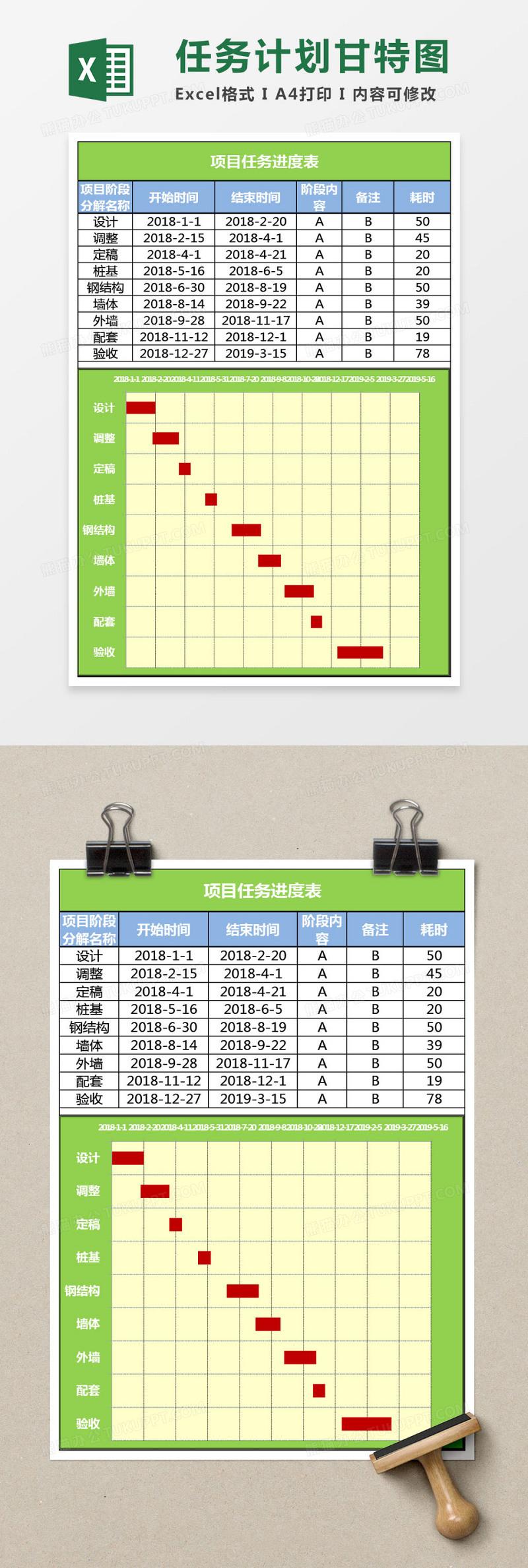 公司员工培训计划表_简约项目任务计划甘特图excel表模板_Excel表格 【工图网】