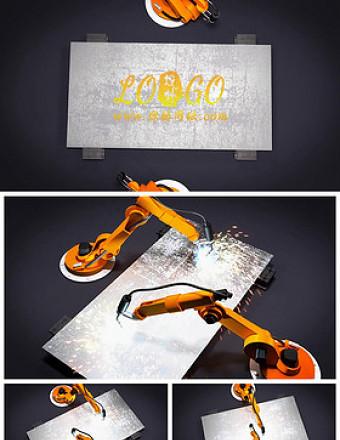 机械工业机器人手臂焊接LOGO片头动态PPT亚博体育下载app苹果